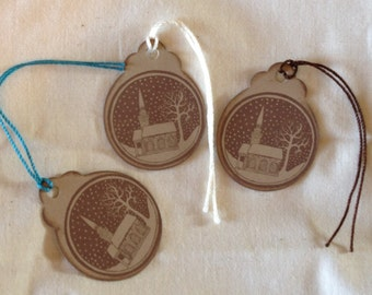 Handstamped VINTAGE STYLE RUSTIC Gift Tags - Set of 5 - Choose Cord - Christmas - Holiday - Winter - Church - Aged - Antique Look Tags -