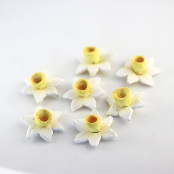 Jonquil Beads, Polymer Clay Beads, Yellow Flowers, Spring Daffodils 996