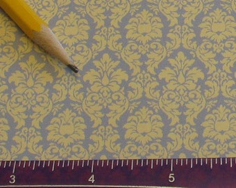 NEW Dollhouse Miniature Victorian WALLPAPER Damask Slate on Butter