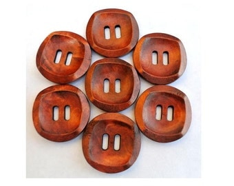 6 Wood  buttons NEW BUTTONS retro vintage style 30mm