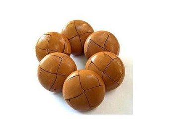 6 Vintage leather buttons 20mm, metal shank light brown