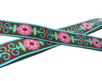 1 Yard Retro Flowers Jacquard Ribbon