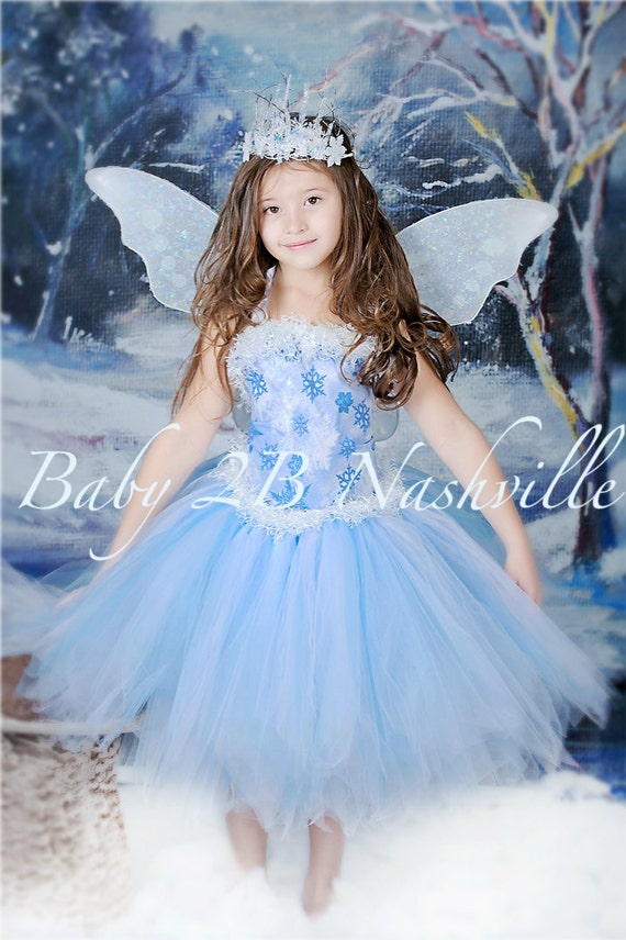 Winter Snow Fairy Costume  Ice Fairy Costume Snow Princess Costume Baby Costume Toddler Costume Girls Costume Tutu and Top Only