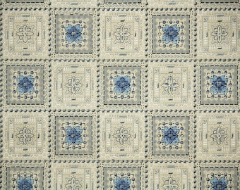 1920's Vintage Wallpaper - Antique Wallpaper with Blue and Brown Geometric Tiles