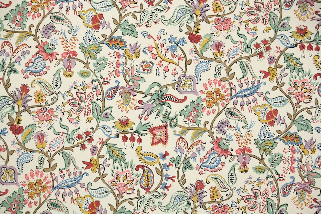 1900 39 s antique french wallpaper french floral paisley for Old french wallpaper