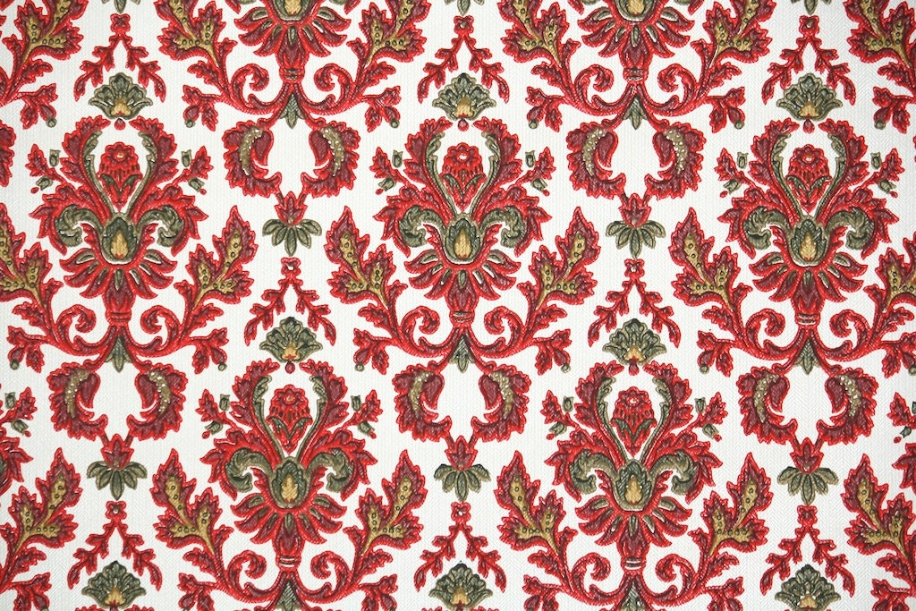 1900 39 s antique french damask wallpaper beautiful red and for Old french wallpaper