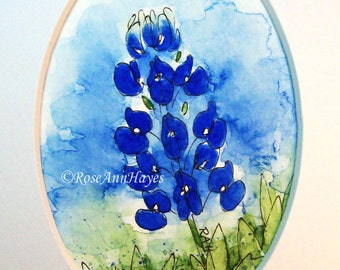 Bluebonnet Print of Watercolor Painting