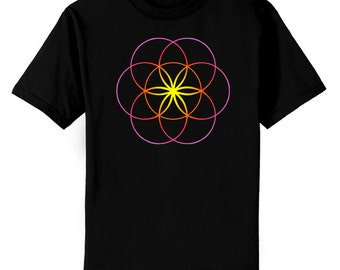 Seed of Life Sacred Geometry Color Art T-Shirt Youth and Adult Sizes