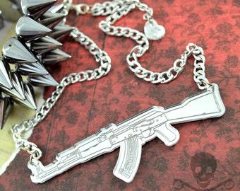 TAKING AIM - Silver Mirror AK47- Laser Cut Acrylic - Engraved Necklace