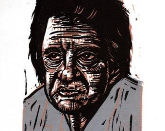 Johnny Cash Wall Art Print, Linoleum Block Print, Linocut Print, Johnny Cash Portrait, Wall Art