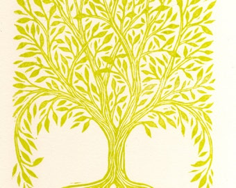 Rectangular Tree Linocut Art Print, Nature Wall Art