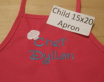 Personalized or Monogrammed Kid Med Apron - 15x20 - 16 colors YOU Choose name color and font