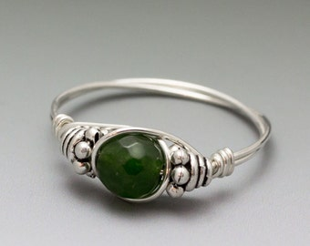 Canadian Green Jade Faceted Bali Sterling Silver Wire Wrapped Bead Ring - Made to Order, Ships Fast!