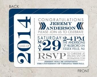 Typographic design graduation invitation with 2 sided printing