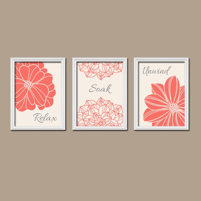 Coral bathroom wall art prints coral bathroom decor by for Paintings for bathroom decoration