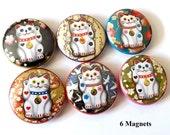 "Fortune Cat Maneki Neko 1"" refrigerator MAGNETS Kitty luck lucky wave stocking stuffer party favors shower gifts flair fridge pin geekery"