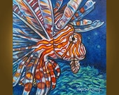 Art Painting Canvas -- Undersea Beauty -- 20 x 20 inch Original Painting by Elizabeth Graf, READY to HANG --