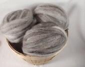 BFL Wool and Llama Blend Roving- Grey Pencil Roving- 4 oz.