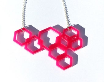 Pink Geometric Necklace Laser Cut Acrylic Perspex Hexagons on Sterling Silver Chain