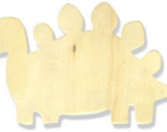 Unfinished Wooden Stegosaurus Dinosaur Cutouts - 5 pieces