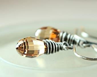 Golden Cubic  Zirconia Earrings Oxidized Silver Drop  Cz  Jewelry Brown Wire Wrap Teardrop Earrings Sparkle Zirconia Jewelry Made For Women