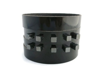 Beaded Black Patent Leather Peek-a-Boo Cuff Bracelet, Leather Jewelry, Leather Accessories for Women