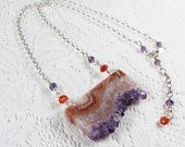 Statement Necklace: Amethyst Stalactite Slice, Amethyst, Sunstone, Sterling Silver, February Birthstone (N0248-6)