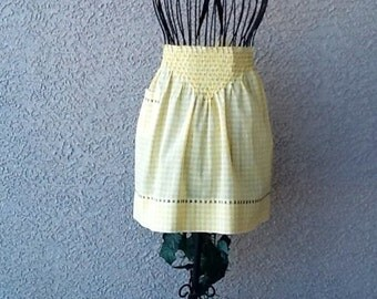 YELLOW & WHITE GINGHAM -  Embroidered in Black