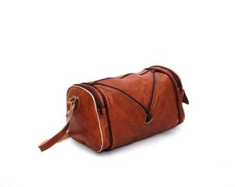 CONVERTIBLE tan brown leather 70s 80s BOHEMIAN HOBO duffel bag purse