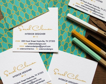 personalized business calling card mod swirls in emeralds and gold - set (50)