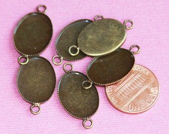 6 pcs of antique brass Cabochon setting for 13x18mm cabochon