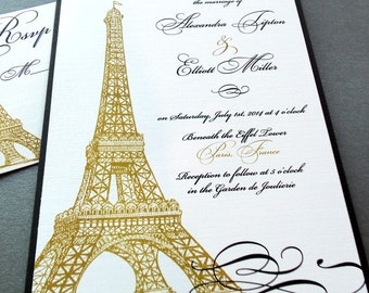 Eiffel Tower Paris Invitation - Weddings, Quinceañera Party, Special Event, Birthday - Gold and Black - Sample or Deposit