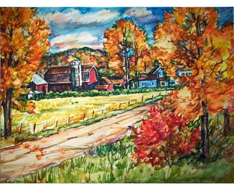 AUTUMN SKY -11x15 original painting landscape watercolor OOAK, Original, Autumn, Fall, Country, Rural, Farm, Road, Barn, Leaves