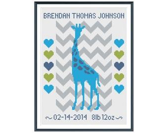 Giraffe Boy Birth Announcement Large Cross Stitch Pattern Instant Download