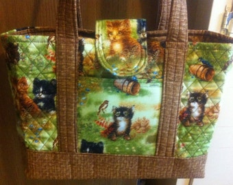 "SALE SALE SALE Aunt Roo's Machine Quilted Kittens Handbag ""One-of-a-Kind"""