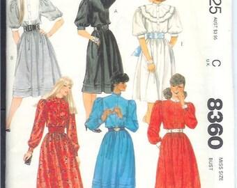 McCalls Misses DRESS Sewing Pattern 8360 Size 8   Bust 31 1/2  UNCUT