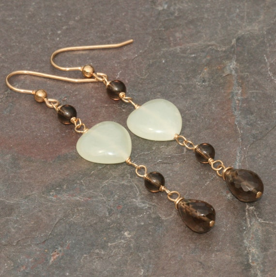 Smoky Quartz Earrings, Jade Hearts, Brown Green Earrings, Long Brown Earrings, Heart Earrings in 14k Gold Filled by Maggie McMane Designs