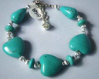 Lovely Turquoise Magnasite Heart Bracelet
