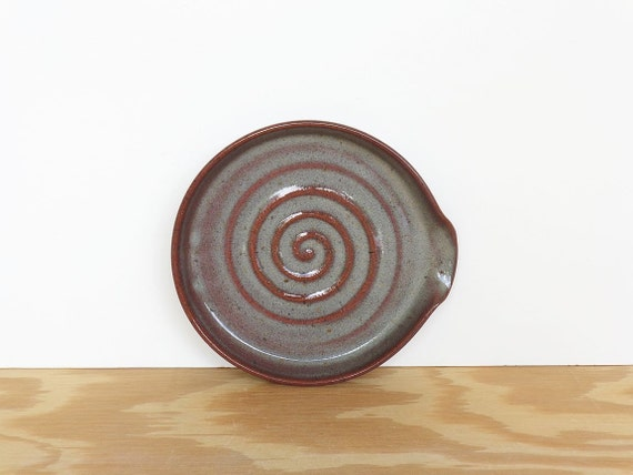 Stoneware Ceramic Spoon Rest in Fog Glaze