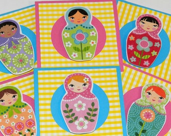 Russian Nesting Dolls Mini Card Set