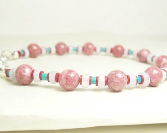 Pink Rhodonite, Light Blue/White, Red Record beads and Turquoise Bracelet - Sterling Silver