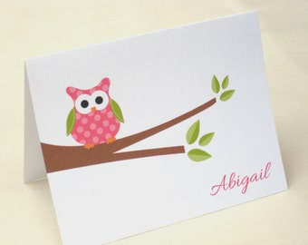 Personalized Owl Note Cards - Owl Note Card Set