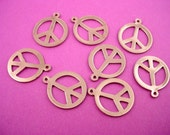 8 vintage silver tone peace sign charms 17mm 1970's