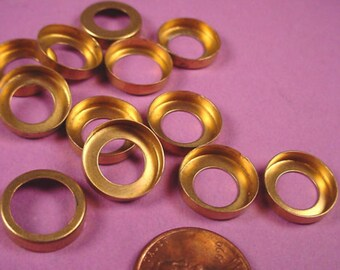 Vintage Brass Round Bezel Cups 13mm HIgh Wall Open Backs - 12 Pieces