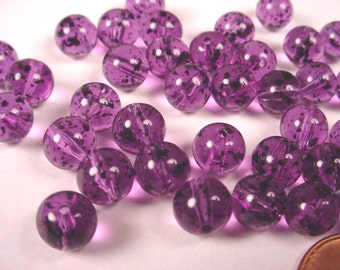Vintage Purple Lucite Round Beads with Black Specks 8mm - 36 pieces