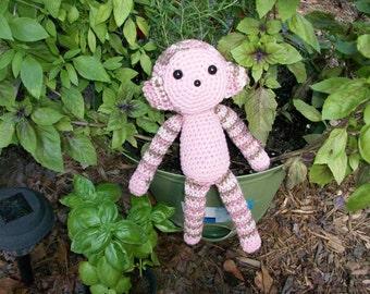 Plush Toy Monkey - Pink Plush Monkey - Soft Stuffed Toy Monkey - Stuffed Animal Monkey - Amigurumi Monkey - Ready-to-Ship