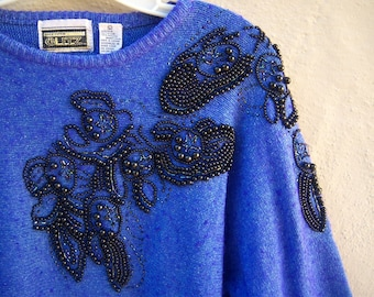 80s beaded sweater / electric blue SILK angora sweater, JET black beaded pullover / Glitz glam disco batwing sleeves / womens med large