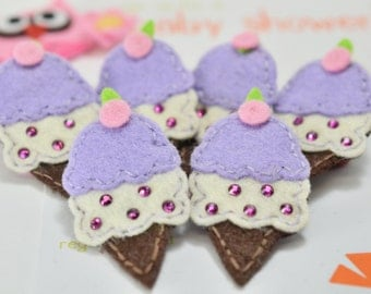 Set of 6pcs handmade felt ice cream w/ swarovski crystal--hyacinth (FT2152)