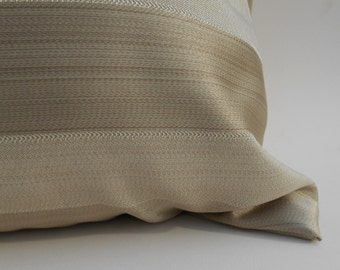 "Tonal beige stripe euro sham pillow cover 20""x20"""