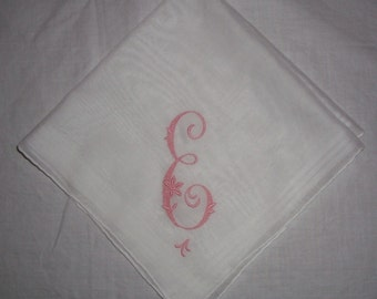 Vintage White Hanky with Pink Initial E Hanky - Hankie Handkerchief